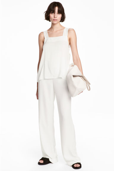 Wide suit trousers - White -  | H&M