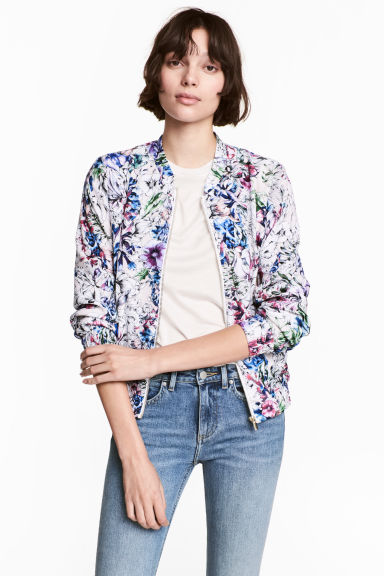 Bomber in satin - Rosa cipria/fiori -  | H&M IT
