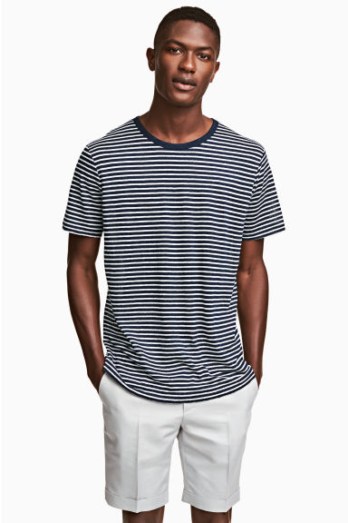 Linen jersey T-shirt - Blue/White striped - Men | H&M IE 1