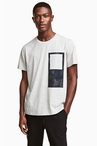 Cotton jersey T-shirt - Grey marl -  | H&M