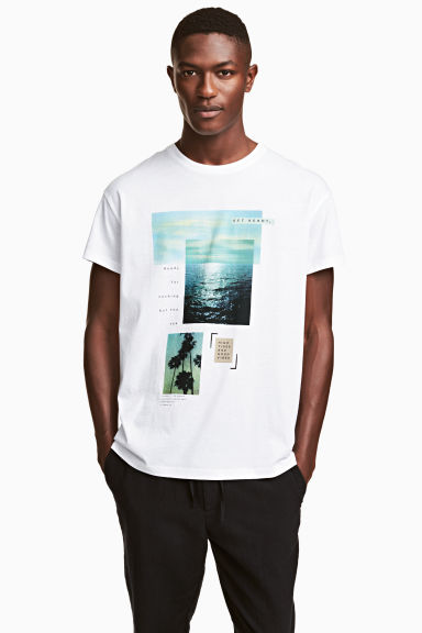 T-shirt with a motif - White/Photo - Men | H&M 1