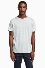 Linen jersey T-shirt - Light grey marl -  | H&M 1