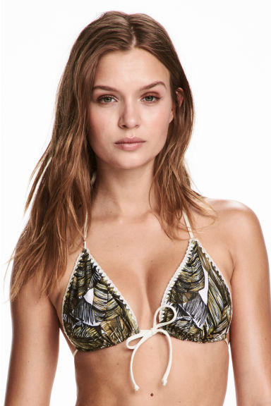 Reversible triangle bikini top - Green/Leaf - Ladies | H&M