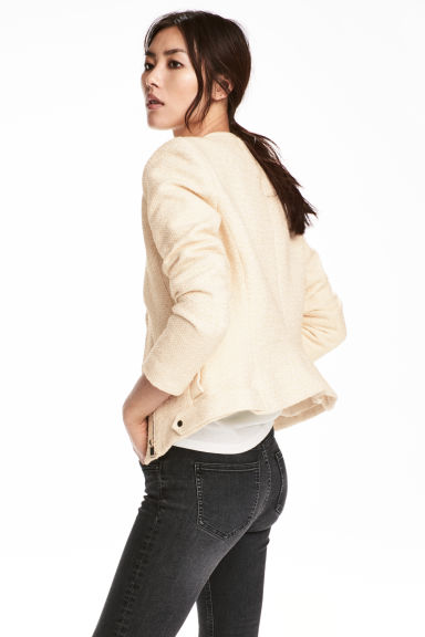 Textured biker jacket - Natural white -  | H&M 1