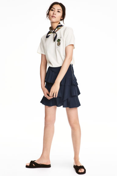 Flounced skirt - Dark blue - Ladies | H&M 1