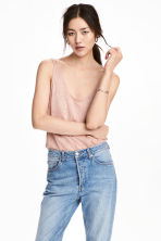 Linen jersey vest top - Powder pink - Ladies | H&M CN 1