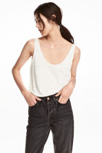 Linen jersey vest top - White - Ladies | H&M GB 1