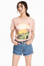 Printed T-shirt - Powder - Ladies | H&M 1