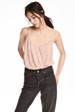 Pleated strappy top - Powder pink - Ladies | H&M CN 1