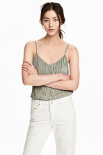 Pleated strappy top - Dusky green - Ladies | H&M 1