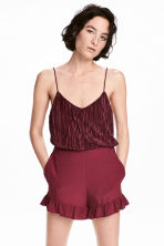 Pleated strappy top - Burgundy -  | H&M CA 1
