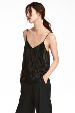Pleated strappy top - Black -  | H&M CA 1