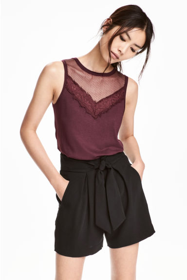 Jersey top with lace - Plum - Ladies | H&M