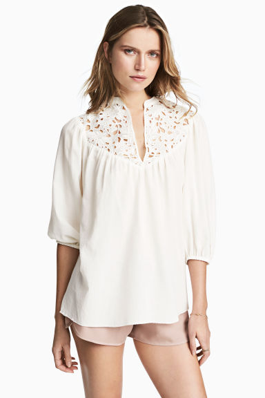 Blouse with lace - White -  | H&M 1