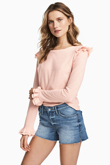 Jersey crêpe top - Powder pink - Ladies | H&M