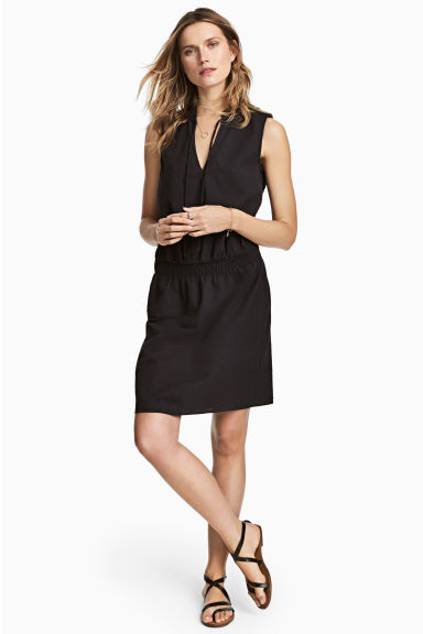 Seersucker dress - Black -  | H&M