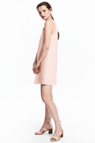 Dress with scalloped edges - Powder pink - Ladies | H&M CN 1