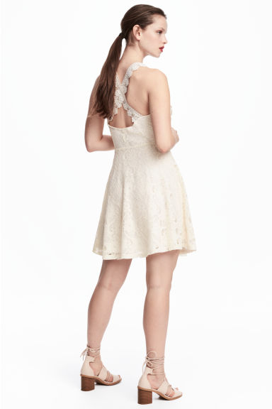 Short lace dress - Natural white - Ladies | H&M CN 1