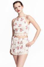 Crop top with a lace trim - Natural white/Floral - Ladies | H&M 1