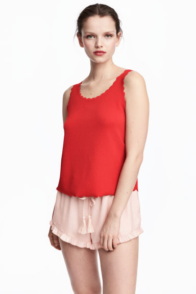 Vest top with scalloped edges - Red - Ladies | H&M 1