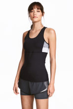 Running top - Black/Grey marl - Ladies | H&M 1