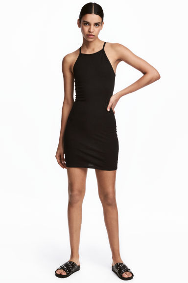 Fitted jersey dress - Black - Ladies | H&M CN 1