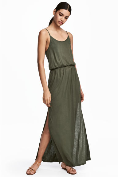 Maxi dress - Khaki green - Ladies | H&M CN 1