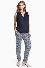 MAMA Jersey trousers - Dark blue/Patterned - Ladies | H&M CN 1
