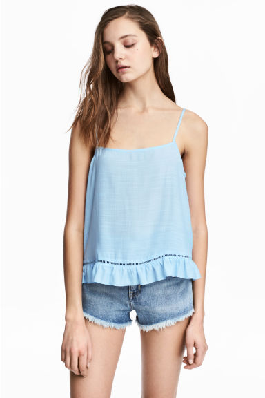 Wide strappy top - Light blue -  | H&M IE
