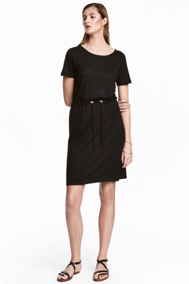 Abito in jersey con coulisse - Nero - DONNA | H&M IT 1