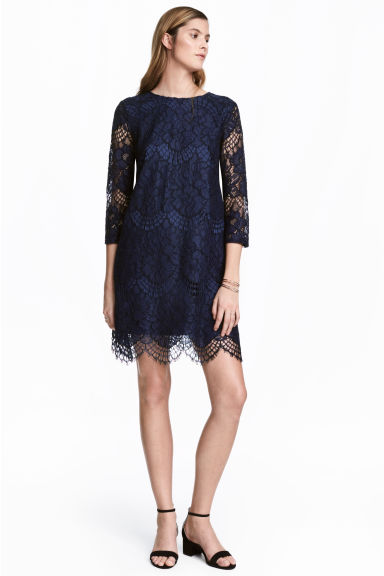 Short lace dress - Dark blue - Ladies | H&M 1