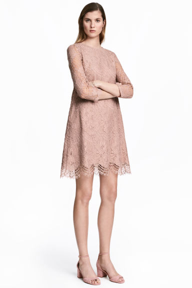 Short lace dress - Powder pink -  | H&M