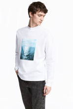 Waffled top - White/Photo - Men | H&M 1