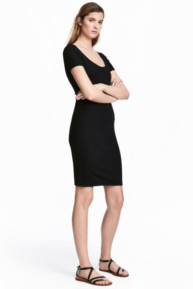 Abito in jersey a costine - Nero - DONNA | H&M IT 1