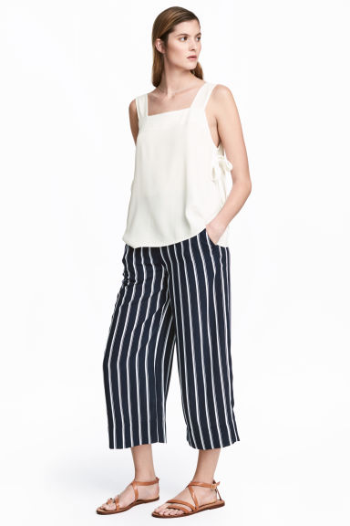 Culottes - Dark blue/Striped - Ladies | H&M