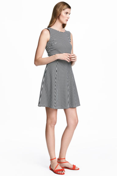 Short jersey dress - White/Striped - Ladies | H&M 1
