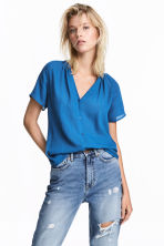 V-neck blouse - Blue - Ladies | H&M CA 1