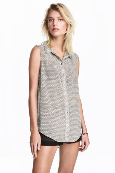 Sleeveless blouse - Light beige/Pattern - Ladies | H&M 1