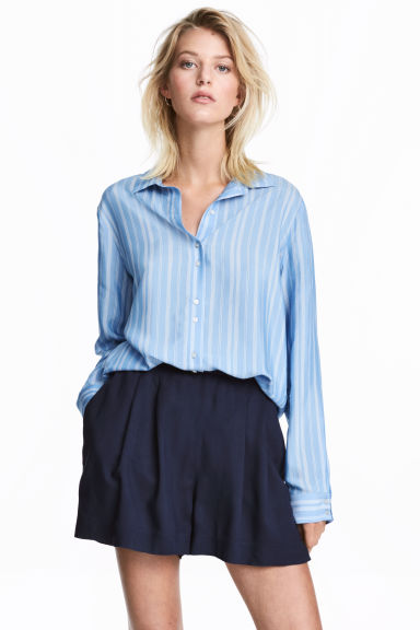 Striped shirt - Light blue/White - Ladies | H&M CA 1