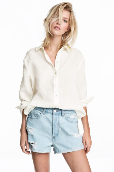 Linen shirt - White - Ladies | H&M 1