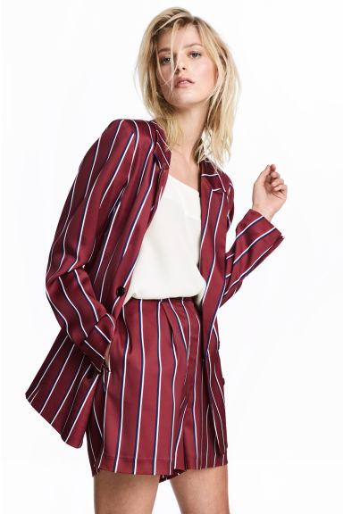High-waisted shorts - Burgundy/Striped - Ladies | H&M 1