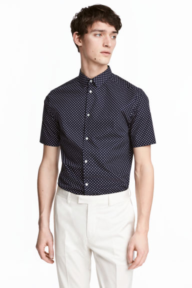 Premium cotton shirt - Dark blue/Spotted - Men | H&M 1
