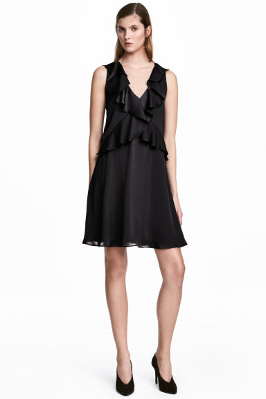 Flounced satin dress - Black - Ladies | H&M 1