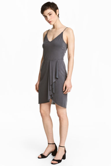 V-neck dress - Dark grey - Ladies | H&M 1