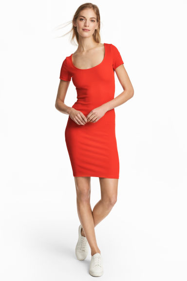 Ribbed jersey dress - Red - Ladies | H&M CN 1