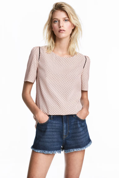 Woven top - Powder pink/Pattern -  | H&M