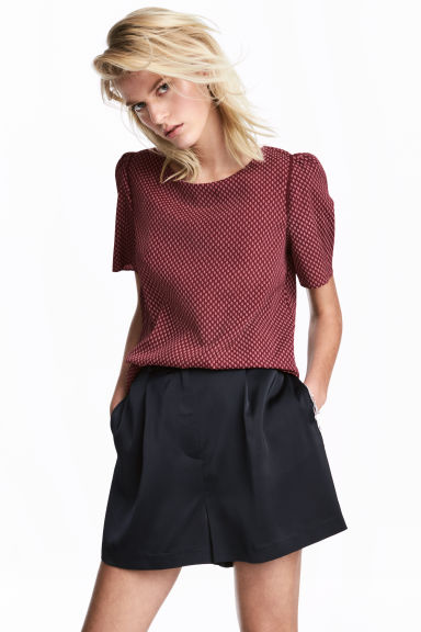 Woven top - Burgundy/Patterned - Ladies | H&M CN