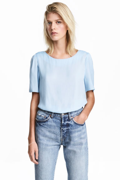 Woven top - Light blue - Ladies | H&M CN