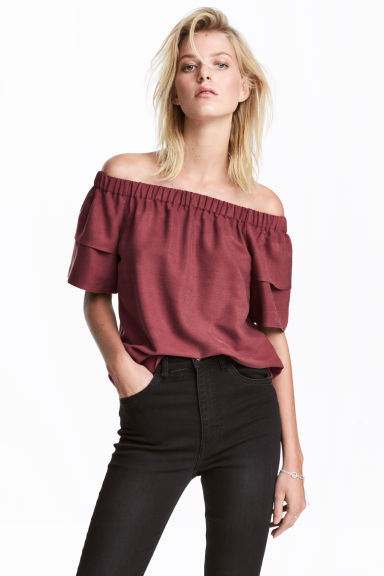 Off-the-shoulderbloes - Bordeauxrood - DAMES | H&M BE 1
