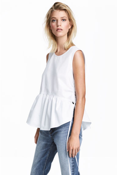 Sleeveless cotton top - White - Ladies | H&M CN 1